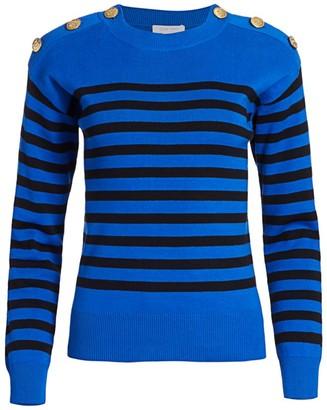 Joan Vass Petite Button-Shoulder Striped Pullover