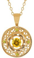 Gem Stone King 0.50 Ct Round Yellow Citrine and Canary Diamond 18k Yellow Gold Pendant