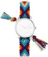 RumbaTime Jane Silvertone White Dial Interchangeable Blue, Orange, Red Braided Strap Watch