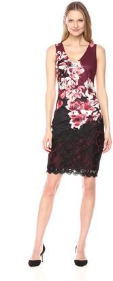 Jax Women's Floral Print lace Detail midi Sheath