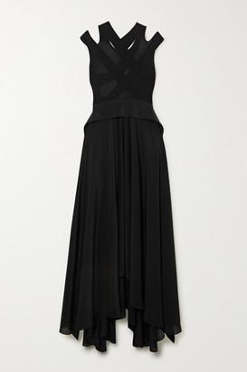Petar Petrov Alba Open-back Ribbed-knit And Silk Maxi Dress - Black