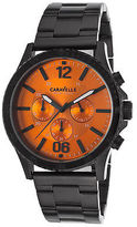 Caravelle NY 45A108 Men's Chronograph Black IP SS Orange Dial Black IP SS