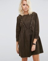 Asos Cord Smock Dress with Ruffle Detail in Forest Green