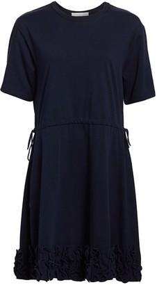 See by Chloe Short-Sleeve Ruffle Drawstring A-Line T-Shirt Dress
