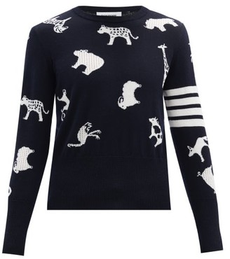 Thom Browne Animal-jacquard Merino-wool Sweater - Navy