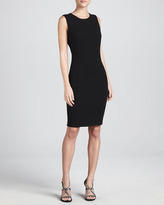 Armani Collezioni Sleeveless Double-Faced Crepe Dress, Black