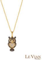 Zales Le Vian Chocolate Diamonds® 1/3 CT. T.W. Diamond Owl Pendant in 14K Honey GoldTM