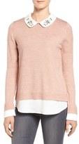 Ivanka Trump Women's Embellished Collar Layer Look Sweater