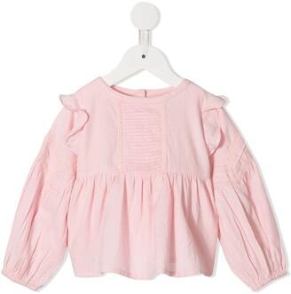 Velveteen Marie frill shoulder blouse