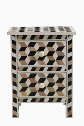 Empress Homewares Escher Bone And Teak Inlay 2 Drawer Bedside