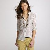 Cotton-silk dot-stripe perfect shirt