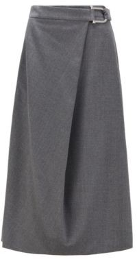 HUGO BOSS A-line skirt in traceable virgin wool with stretch
