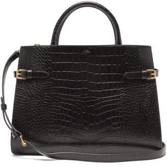 A.P.C. Farrah Crocodile-embossed Leather Bag - Womens - Black