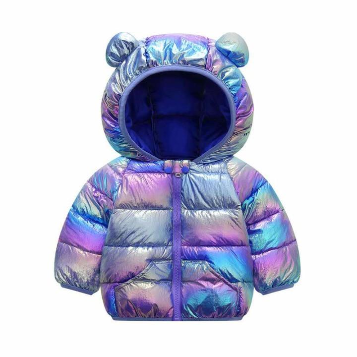 waitFOR Toddlers Kids Star Print Hoodies Down Jacket Baby Boys Girls Thick Bear Ear Hooded Long Sleeve Windproof Coat Hoody Windbreaker Zipper Tops Wadded Coat Padded Outwear,for 6 Months to 4 Years