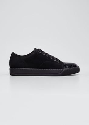 Lanvin Men's Suede Croc-Print Cap-Toe Sneakers