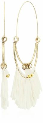 Panacea Raffia White Fringe Hoop Earrings One Size