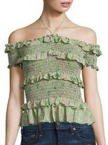 Rebecca Taylor Off-the-Shoulder Fleur Silk Top