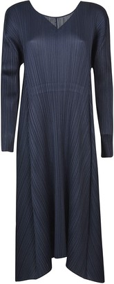 Pleats Please Issey Miyake Striped V-neck Dress