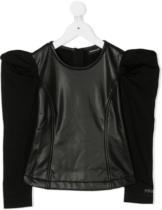 MonnaLisa Contrast Panel Rounded Shoulder Top