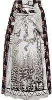 Gucci Pleated Printed Silk Crepe De Chine Midi Skirt - Gray