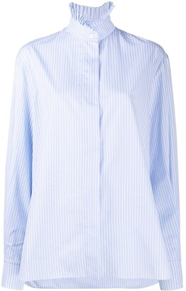 Alexandre Vauthier Ruffled Collar Pinstripe Shirt