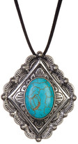 Stephan & Co Stone & Engraved Detail Pendant Adjustable Suede Necklace