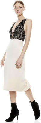 Alice + Olivia Vanita Lace Combo Midi Dress