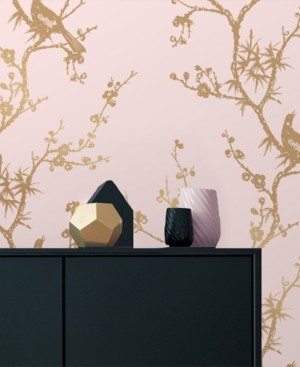 Tempaper Cynthia Rowley for Bird Watching Rose Pink & Gold Self-Adhesive Wallpaper