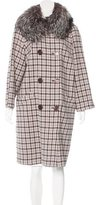 Michael Kors Fox Fur-Trimmed Houndstooth Coat