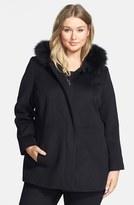Sachi Plus Size Women's Genuine Fox Fur Trim Hooded Wool Blend Jacket