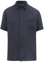 120% Lino Short-sleeved Linen Shirt - Mens - Navy