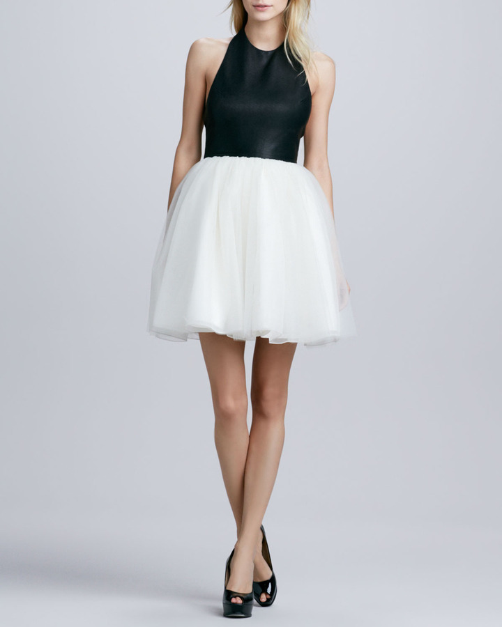 Alice + Olivia Ginnifer Leather T-Back Dress