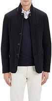 Moorer Men's Leather-Trimmed Jacket-NAVY