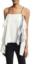 Halston Printed Draped Silk Camisole