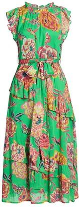 Banjanan Bella Floral Tiered-Ruffle Tie-Waist Midi Dress