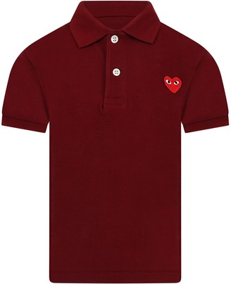 Comme des Garcons Burgundy Polo T-shirt For Kids With Logo