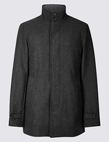 M&S Collection Funnel Neck Coat with Wool