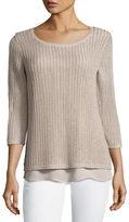 Neiman Marcus Open-Weave Sweater w/ Chiffon Hem