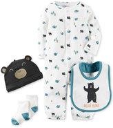 Carter's Baby Boys' Little Wild One 4-Pc. Hat, Bib, Socks & Coverter Gown Set