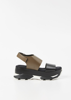 Marni black and dark olive laser cut leather platform sandal