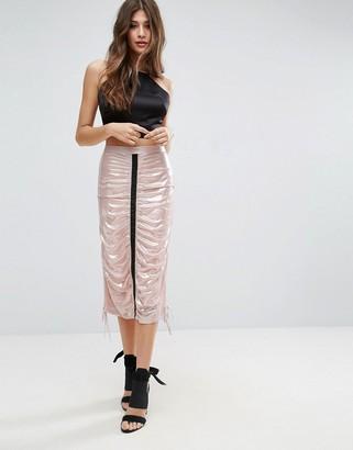 Asos DESIGN metallic midi skirt with channel detail