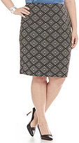 Kasper Plus Geometric Jacquard Straight Skirt