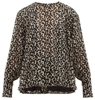 Isabel Marant Midway Floral-print Silk-blend Blouse - Black White