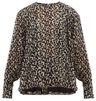 Isabel Marant Midway Floral Print Silk Blend Blouse - Womens - Black White