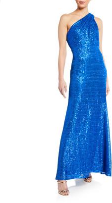 SHO One-Shoulder Sequin Gown