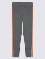 Marks and Spencer Glitter Stripe Cotton Leggings (3-14 Years)
