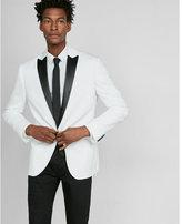 Express photographer white cotton sateen tuxedo jacket