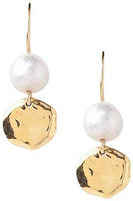 Chan Luu Freshwater Cultured Pearl and 18K Gold Plated Circle Earrings