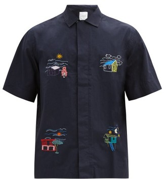 Paul Smith House-embroidered Cotton Short-sleeved Shirt - Navy