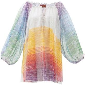 Missoni Mare Striped Balloon-sleeve Sheer Fine-knit Mini Dress - Multi